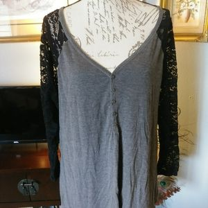 Torrid cotton and lace shirt size 2